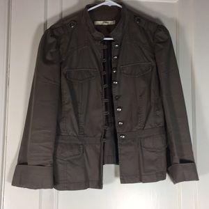Loft Greenish Gray Military Jacket Cuffed Sz 10